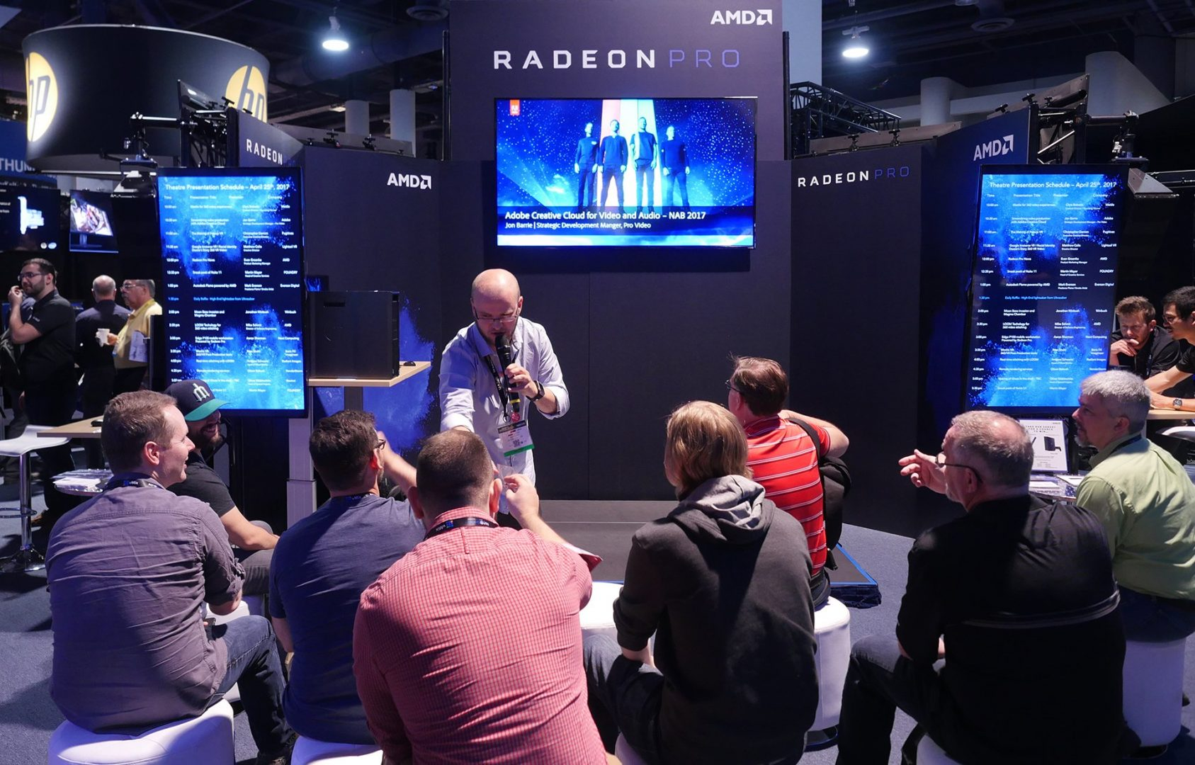 The StudioXperience AMD Radeon Pro Theater and Technology Zone at the 2017 NAB Show featured a steady stream of presentations throughout the show along with technical demos