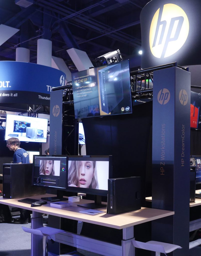 This StudioXperience demo in the HP Technology Zone at the 2017 NAB Show featured new HP Z31x Displays powered by HP Z840 and Z2 Mini Workstations on Adobe® Premiere® Pro CC