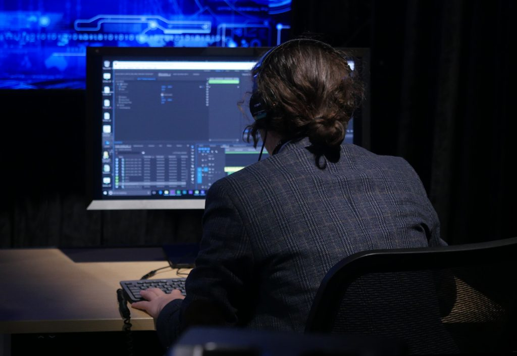 Waskul.TV production team member Louis James works performing editorial work powered by HP Z 840 Workstations in the StudioXperience Broadcast Control Center at the 2017 NAB Show