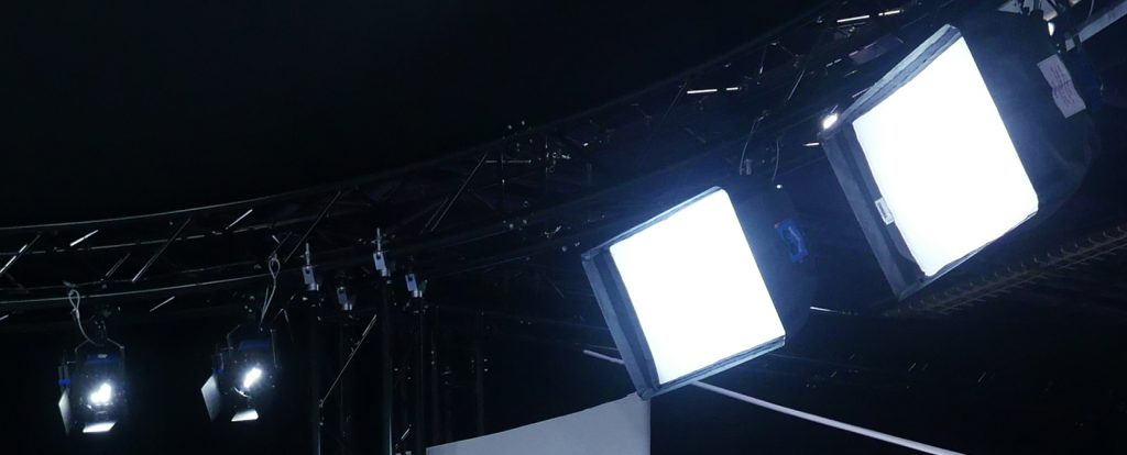 Nila's Zalia Lights with Chimera Lightbanks on set in StudioXperience at the 2017 NAB Show