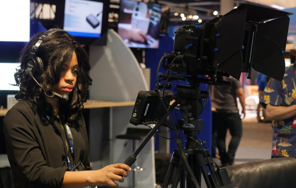 Waskul.TV broadcast team member Mara Lewis checks focus for the TD during our live broadcast from the 2017 NAB Show