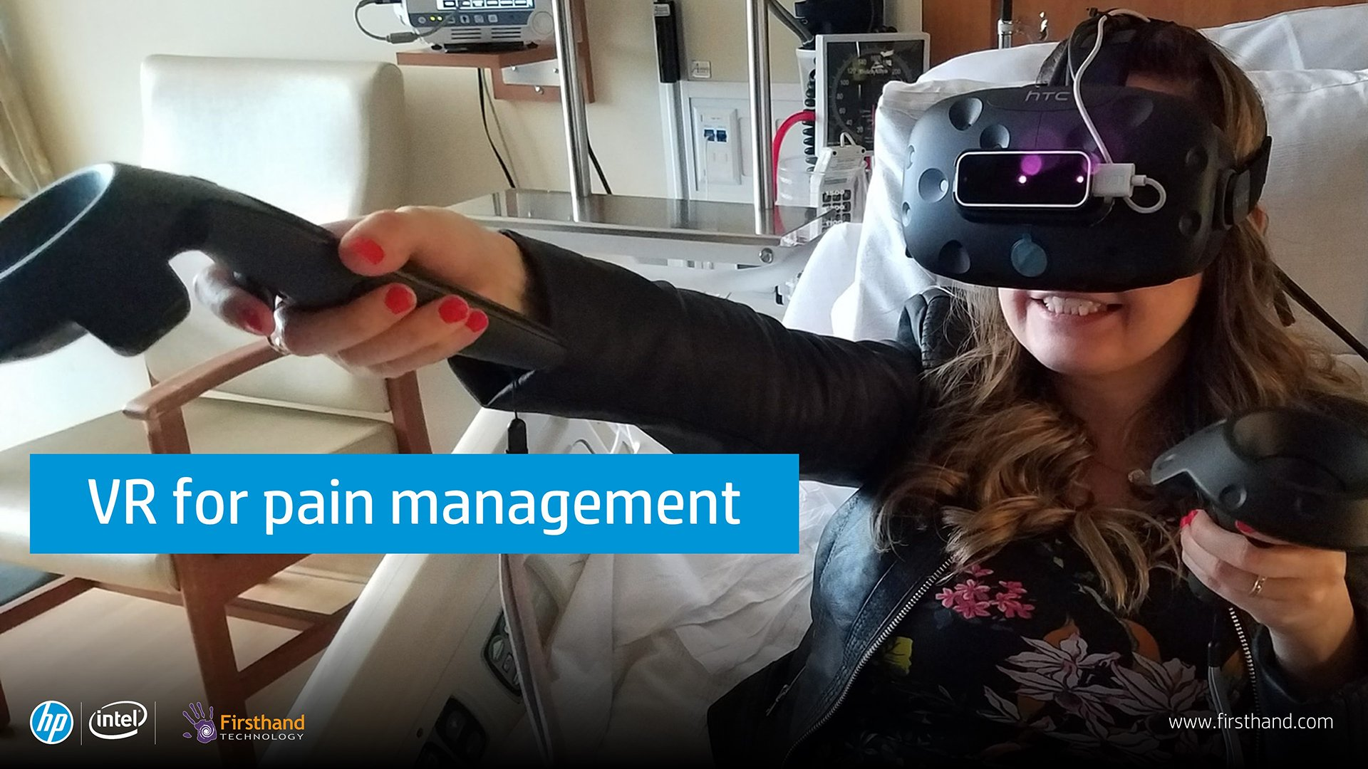 This image from our StudioXperience signage shows Firsthand Technology's use of VR for pain management in a hospital environment.