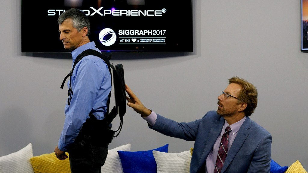HP's Louis Gaiot shows off the new HP Z VR Backpack with Steve Waskul in StudioXperience
