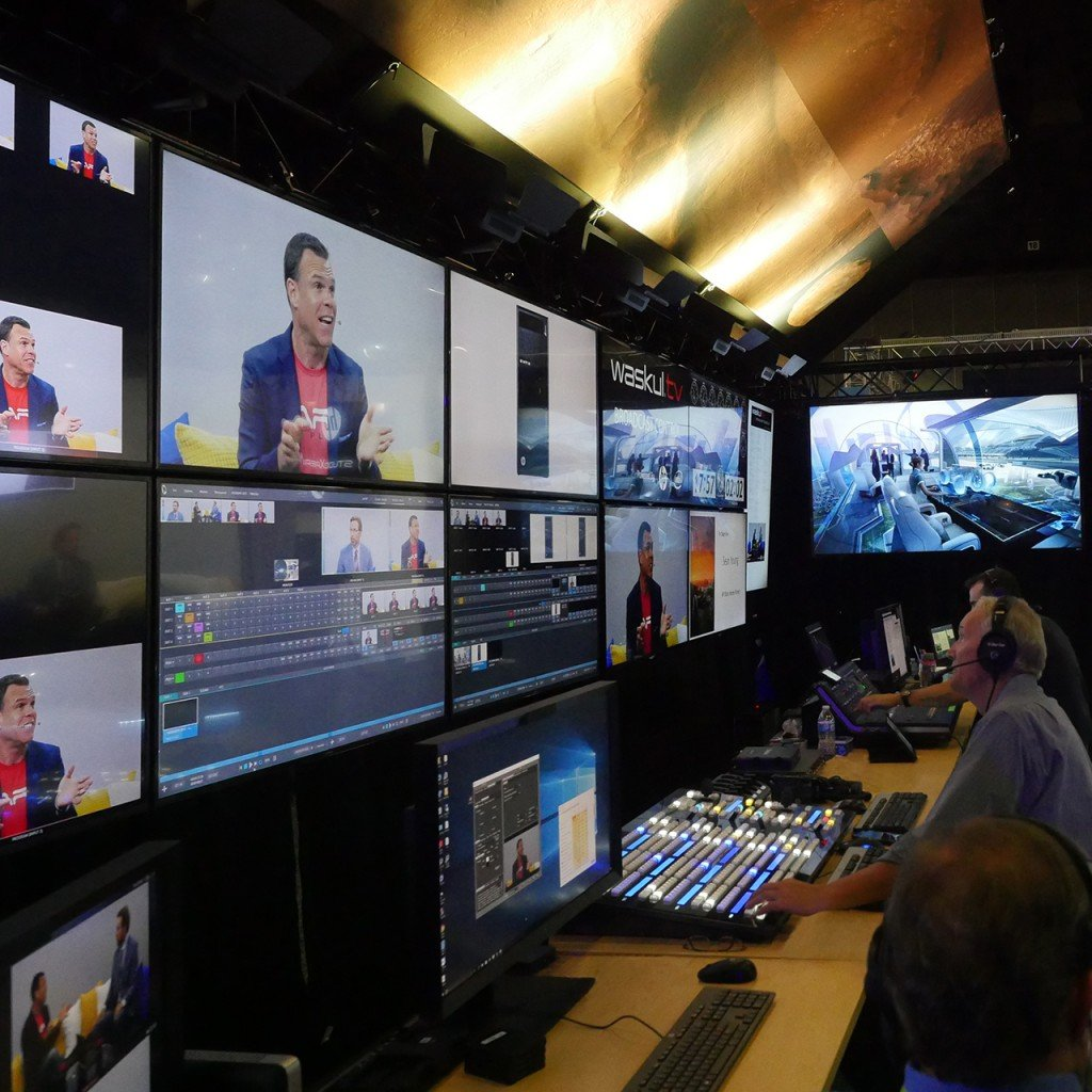 The StudioXperience Broadcast Control Center at SIGGRAPH 2017 during a live Waskul.TV interview of HP's Sean Young