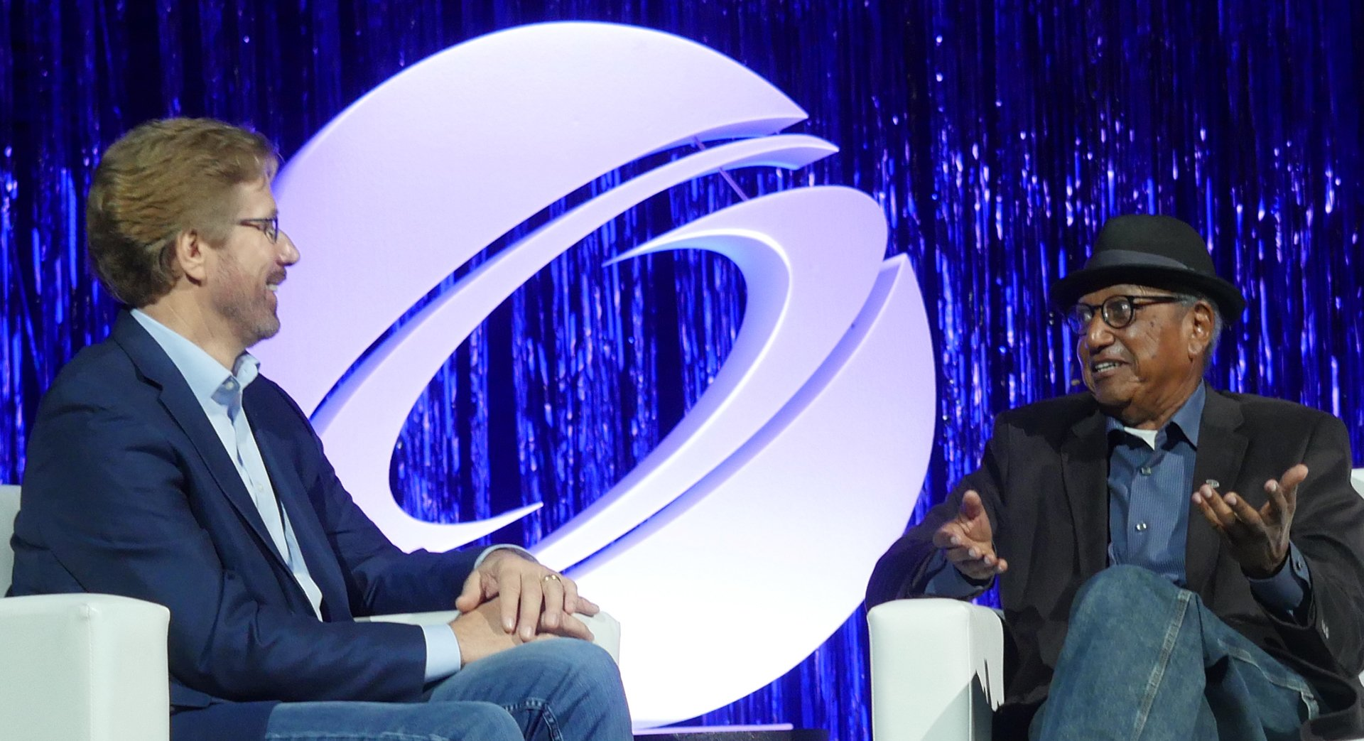 Steve Waskul and Floyd Norman during their fireside chat keynote at SIGGRAPH 2017