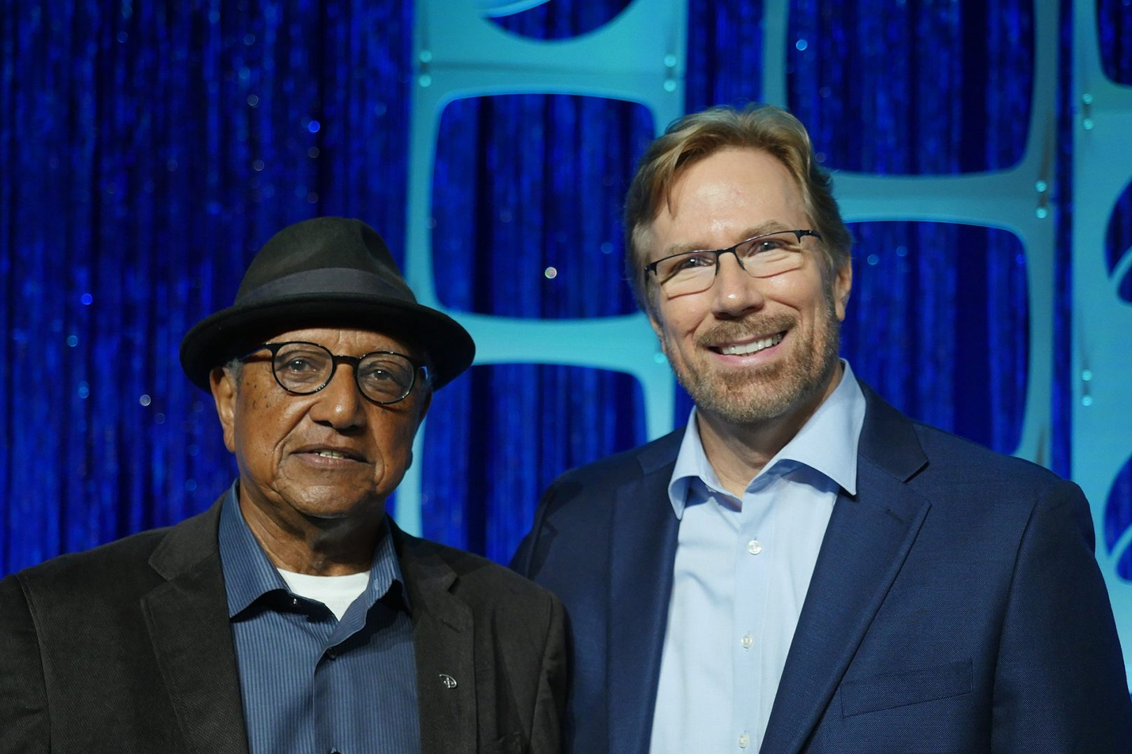 Steve Waskul and Disney Legend Floyd Norman on stage just after the SIGGRAPH 2017 Keynote