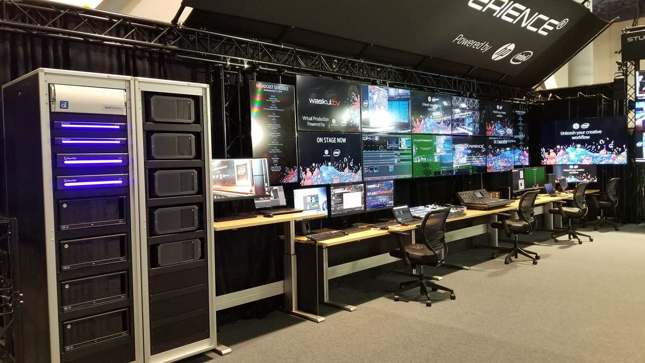 The Waskul.TV Broadcast Control Center in StudioXperience at the 2018 NAB Show. Our virtual production workflow includes four HP Z8 Workstations that power the Zero Density Reality software which removes the green backgrounds and composites the live action into the virtual set