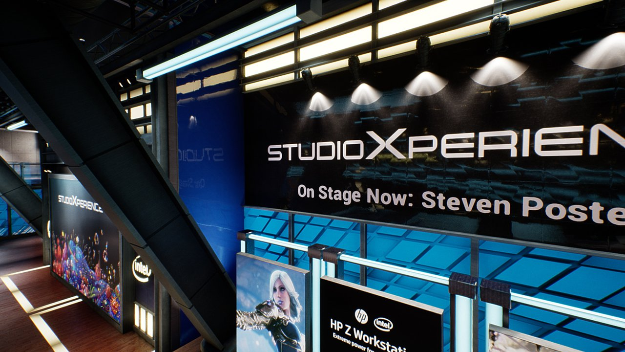 Looking down across the right wall of the StudioXperience Virtual Studio
