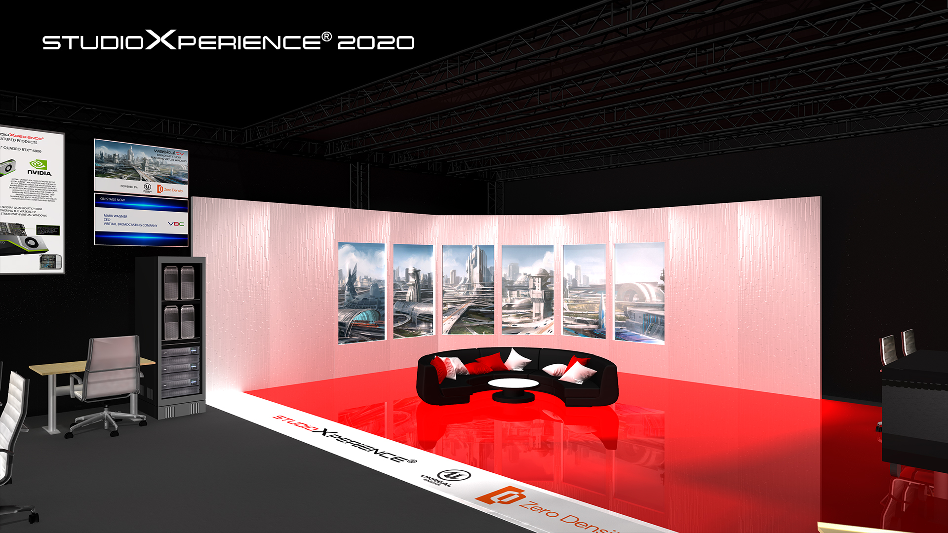 Concept Rendering for the StudioXperience Broadcast studio to be showcased at the 2002 NAB Show